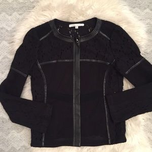 Donna Degnan Leather Mesh Lace Jacket Blazer 4